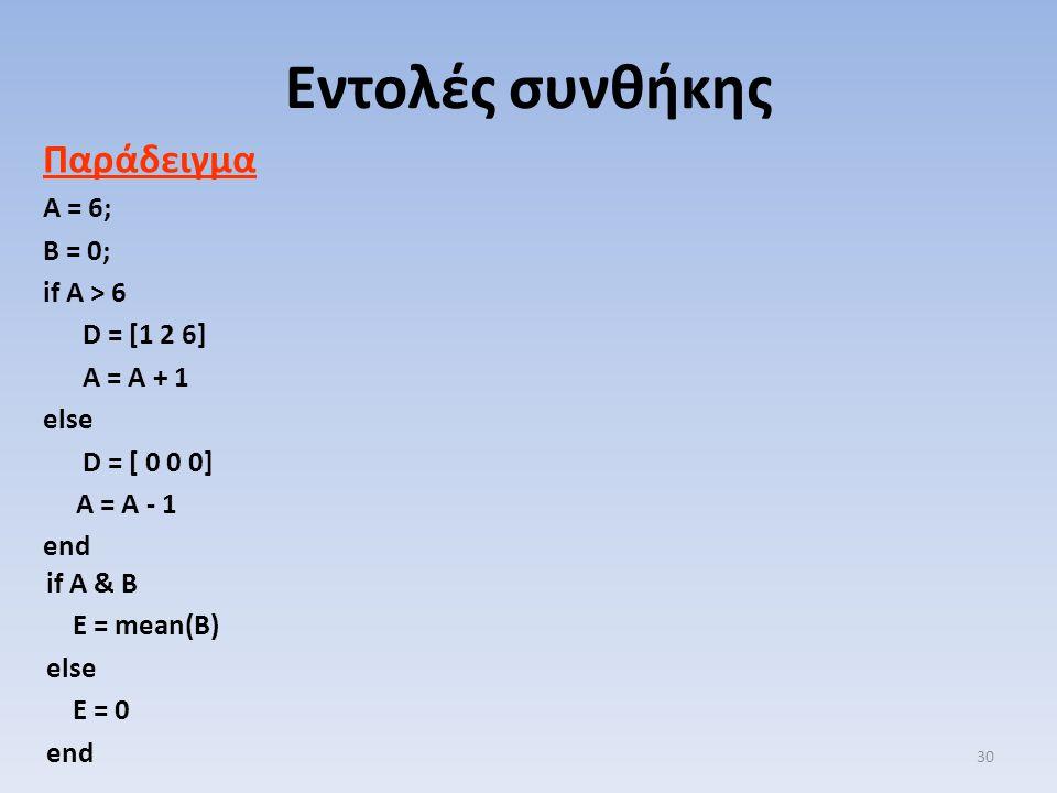 Εντολές συνθήκης Παράδειγμα A = 6; B = 0; if A > 6 D = [1 2 6]